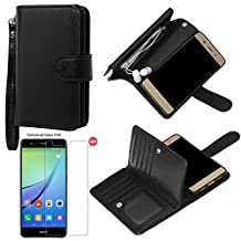 xhorizon TM FLK Premium Leather Folio Case Wallet Magnetic Detachable Removable Wristlet Purse Soft Multiple Card Slots Cover for Huawei P10 Lite with a 9H Tempered Glass Film