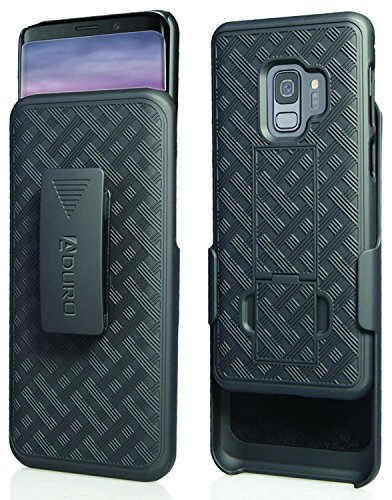 (Aduro Galaxy S9 Case with Kickstand Belt Clip Holster, Combo Galaxy Case with Rotating Belt Clip Super Slim Shell Samsung Galaxy Belt Clip Case for Samsung Galaxy S9 (NOT PLUS) Cell Phone (2018) Black)