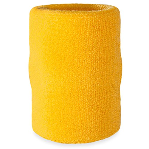 Suddora Arm Sweatband - Athletic Cotton Armband for Sports (Yellow)