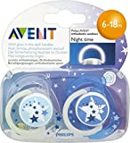 Avent Naturally Night Time Silcone Soothers 6-18mths (2) - Pack of 6
