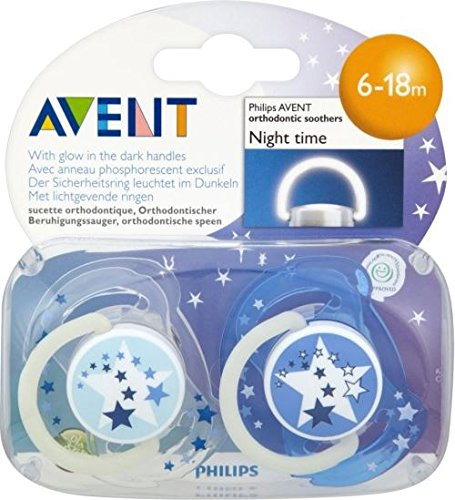 Avent Naturally Night Time Silcone Soothers 6-18mths (2) - Pack of 6 by Avent (Image #1)