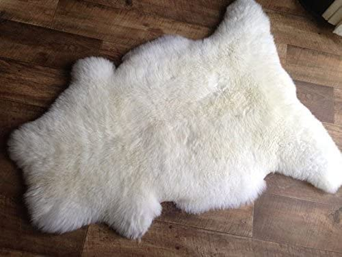 Real Ivory White Sheepskin Rug Single Pelt Genuine Sheep Skin Soft Fur, 2 X 3