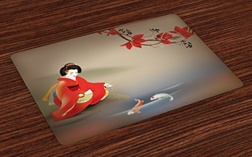 Oriental Asian Fabric - Lunarable Koi Fish Place Mats Set of 4, Geisha Feeding Beast Autumn Time Culture Eastern Vibes Oriental, Washable Fabric Placemats for Dining Room Kitchen Table Decor, Sepia