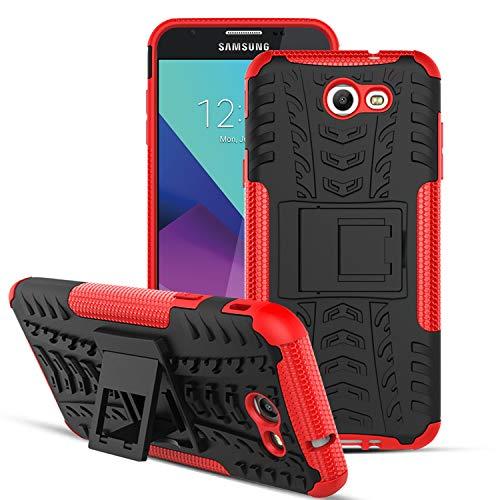 OEAGO Samsung Galaxy J7 V J7V 1st Gen 2017 Case, Galaxy J7 Prime Case, Galaxy J7 Perx Case, Galaxy J7 2017 Case, Galaxy J7 Sky Pro Case, Halo Case, Tough Rugged Dual Layer Case Kickstand - Red