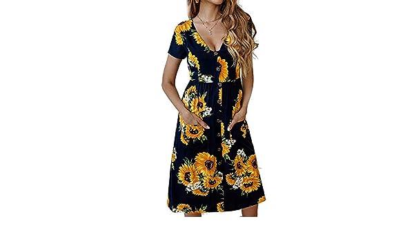04217924ee saishun European and American Women s Clothing Manufacturers Ebay Explosion  Models Summer Boho Print Button V-Neck Short-Sleeved Pocket Dress (Dark  Blue L) ...