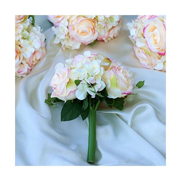BalsaCircle 4 Pink Silk Roses and Hydrangea Bouquets – Artificial Flowers Wedding Party Centerpieces Arrangements Supplies
