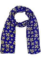 Purple Satin Scarf with Gold Fleur de Lis Designs