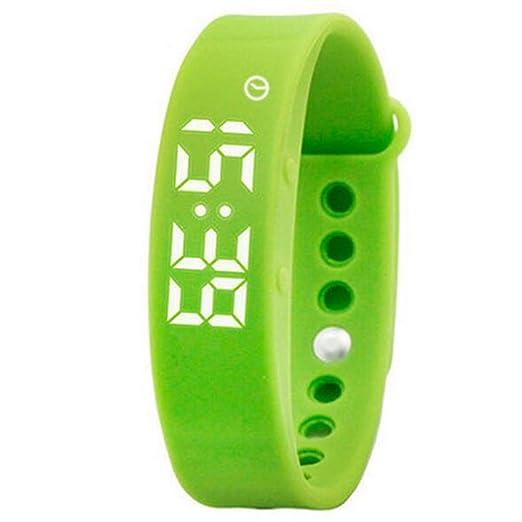 reloj del silicón digital de los estudiantes inteligentes verdes de las mujeres dirigidos deportivos de fitness pulsera de calorías para los niños hombres: ...