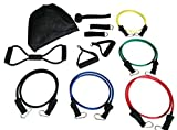 Resistance Band Exercise Workout Set ◆ Therapy Handles ◆ Bonus 8-Band ◆ ◆ Door Anchor ◆ Ankle Strap ◆ Chest Arms Glutes Thighs Legs for P90X ◆ 21 Day Fix Training Equipment