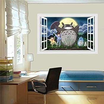 Amazon.com: Pegatina de pared Totoro 3D con dibujos animados ...