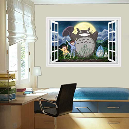 (Life Garden 3D Effect Totoro Mural Wall Sticker Cartoon Kids Nursery Wall Art Decal Wallpaper B430)
