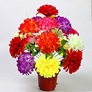 ZJJFZH Artificial Decorative Flowers 18 Colored Daisy Qingming Festival Burial Cemetery Sweeping Graves Cemetery Fake Flowers Simulation Big chrysanthemumDecorative Artificial Flowers 51
