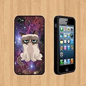 Nebula grumpy cat Custom Case/Cover FOR Apple iPhone 4 /4S BLACK Rubber Case ( Ship From CA )