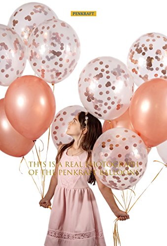 18'' inches 16 pcs Rosegold Confetti Balloons Premium Natural Latex Set | 10 Pcs Clear Latex Pre-Filled with Rosegold Confetti + 6 Pcs Rosegold Latex | Birthday, Party, Weddings