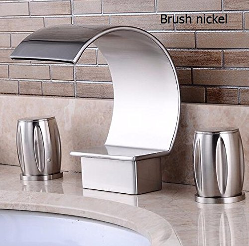 Deck three hole Double Handles Bathroom waterfall faucet Brush Finished three hole bathroom faucet Crane Sink waterfall tap,Brush nickel