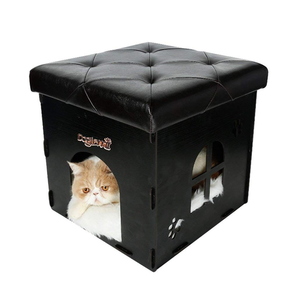 Black XAJGW Cat House & Side Table   40 x 37x 37 CM   Cat Home Nightstand   Wood Cat litter Box   Litter Box Enclosure   Cat Cave