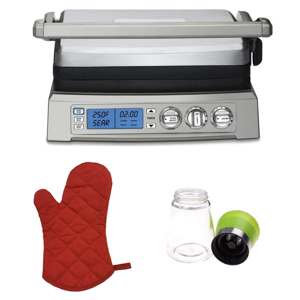 Cuisinart GR-300 Elite Griddler (Stainless Steel) w/Red Oven Mitt and Spice Mill