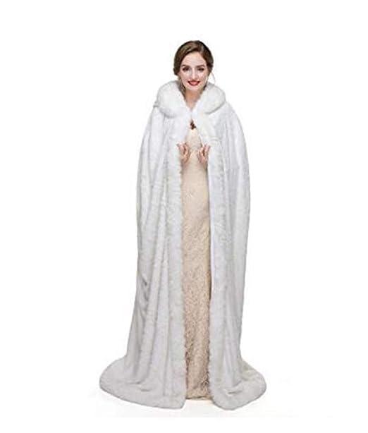 Meibida Inverno Caldo da Donna con Cappuccio Mantello Abito da Sposa  Cappotto da Sposa Scialle Inverno Caldo Giacca (Avorio)  Amazon.it   Abbigliamento 278a55e67ff8