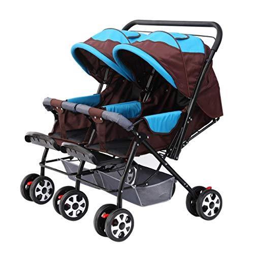 Zsail Baby Carriage High View Side by Side Stroller Foldable Tandem Stroller Together Double Stroller Tandem Stroller (Color : D)