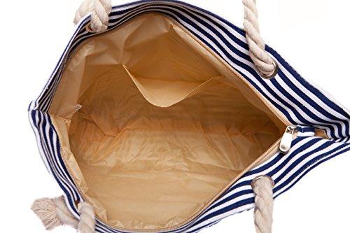 CAPRIUM Strandtasche in Streifen Optik mit Anker, Schultertasche, Shopper, Damen 0009004 (XXL Blau) Blau