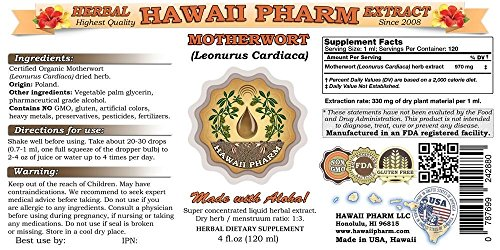 Motherwort Liquid Extract, Motherwort (Leonurus Cardiaca) Dried Herb Powder Tincture Supplement 4x4 oz by HawaiiPharm (Image #1)