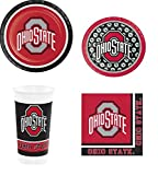 Ohio State Buckeyes OSU Party Supplies Bundle (Serves 8: 2 Sizes Plates/Bev Naps/Tumbliers)
