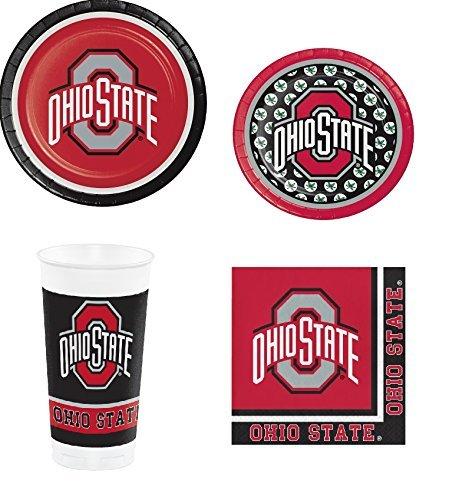 Ohio State Buckeyes OSU Party Supplies Bundle (Serves 8: 2 Sizes Plates/Bev Naps/Tumbliers)