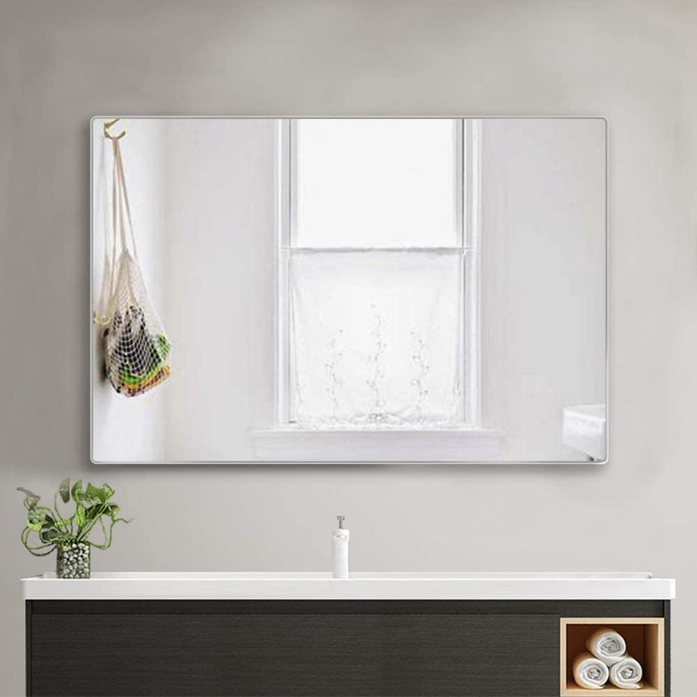 4EVER BEAUTI Bathroom Mirror 32x24x0.7,Vanity Mirror for Wall with Thin Silver Metal Frame, Decorative Wall Mirrors for Living Room,Bedroom,Rounded Corner Hangs Horizontal Or Vertical