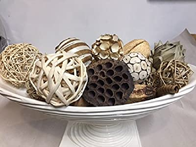 Wreaths For Door White Decorative Spheres Rattan Bowl Vase Filler Assorted Natural Neutral Woven Twig Balls Pods and Botanicals