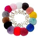 SUPPION Furry Metal Pompom Ball Keychain Bag Plush Car Key Ring Pendant