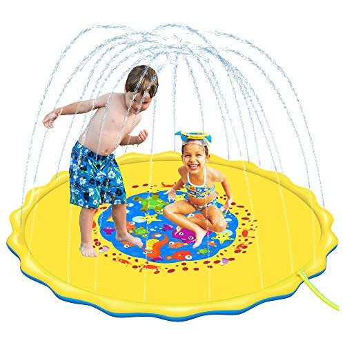 U-Goforst 68 Inch Sprinkle and Splash Play Mat Water Wadding Pool Toys Fun for Children Toddlers Boys Girls Kids Inflatable Summer Outdoor Party Sprinkler Splash Pad (Yellow)