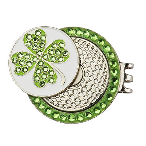 Crystal Golf Hat Clip With Golf Ball Marker In Gift Box For Lady (Green)