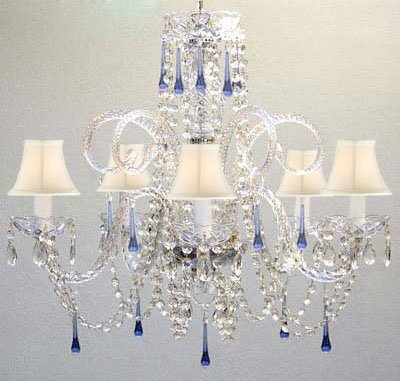 Blue Crystal Chandelier Chandeliers Lighting with White Shades!