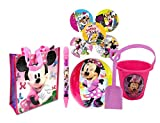 Disney Minnie Mouse 5pc Summer Bucket of Fun! Includes Beach Ball, Sand Bucket, Shovel, Water Blaster & Beach Bag! Plus Bonus Minnie & Daisy Stickers!