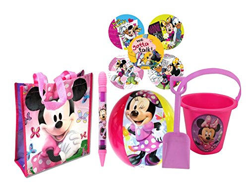 Disney Minnie Mouse 5pc Summer Bucket of Fun! Includes Beach Ball, Sand Bucket, Shovel, Water Blaster & Beach Bag! Plus Bonus Minnie & Daisy Stickers! by Disney