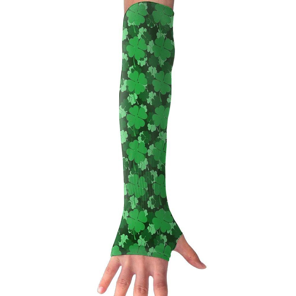 Patricks Day Shamrocks Unisex Summer Arm Cover Sleeves Long Fingerless Sun-proof Anti-UV Long Gloves For Outdoor NUNOFOG St