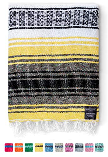 Authentic Mexican Blanket – Beach Blanket, Handwoven Serape Blanket, Perfect as Beach Blankets, Picnic Blanket, Outdoor…