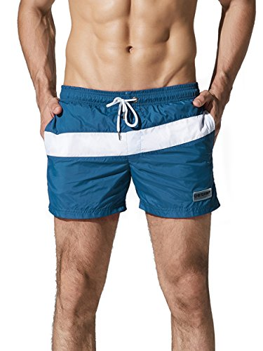 Neleus Men's Dry Fit Swim Running Joggers Short with Pockets,710,Navy Blue,L,Tag - In Swim Shorts Running