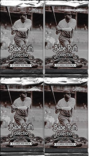 4 Unopened Packs of 2016 Leaf Babe Ruth Collection Baseball Cards - 5 Cards Per Pack (Look for Randomly Inserted: Authentic Bat Cards, Yankee Seat Cards & 1 of 1 Cut Signature Cards) Free Shipping & Tracking