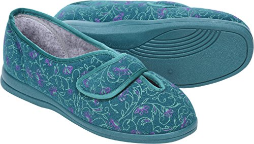 Cosyfeet Diane Hausschuhe - Besonders Geräumig/Extra Roomy (Breite Passform M+ Euro/5E+ Width Fitting UK) Jade Floral, Trilobal
