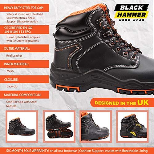 Hammer Acier Src Sécurité De À Montantes Cuir 9972 Embout Bottes Chaussures En S3 Black Travail Sqaxpda