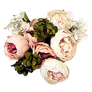Mcupper Artificial Flowers Vintage Fake Silk Peony Flowers Wedding Bush Bouquet Flower Arrangement for Home Decor Party Floral Wreath Centerpieces Decoration and DIY 79