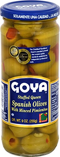 Goya Foods Stuffed Queen Spanish Olives with Minced Pimientos, 9 Ounce