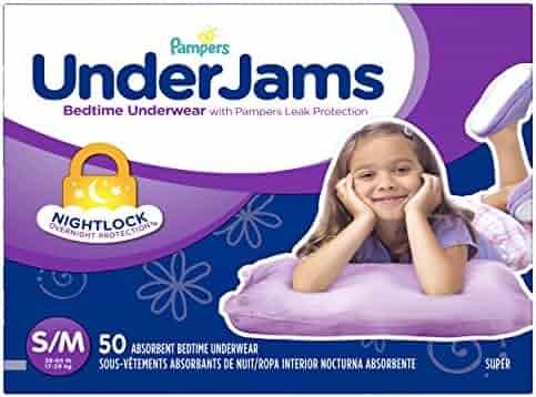 Pampers UnderJams Bedtime Underwear Girls Size Small/Medium, 50 Count