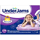 UnderJams Disposable Bedtime Underwear for Girls Size S/M, 50 Count, SUPER
