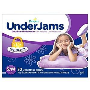 Pampers Underjams Bedtime Underwear Girls, Small/Medium Diapers, 50 Count