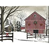 """Christmas Barn by Billy Jacobs - 24""""x32"""" Gallery Wrapped Giclee Canvas Art Print - Ready to Hang"""