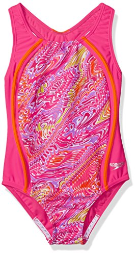 (Speedo Girls Printed Sport Splice, Electric Pink, Size 8)