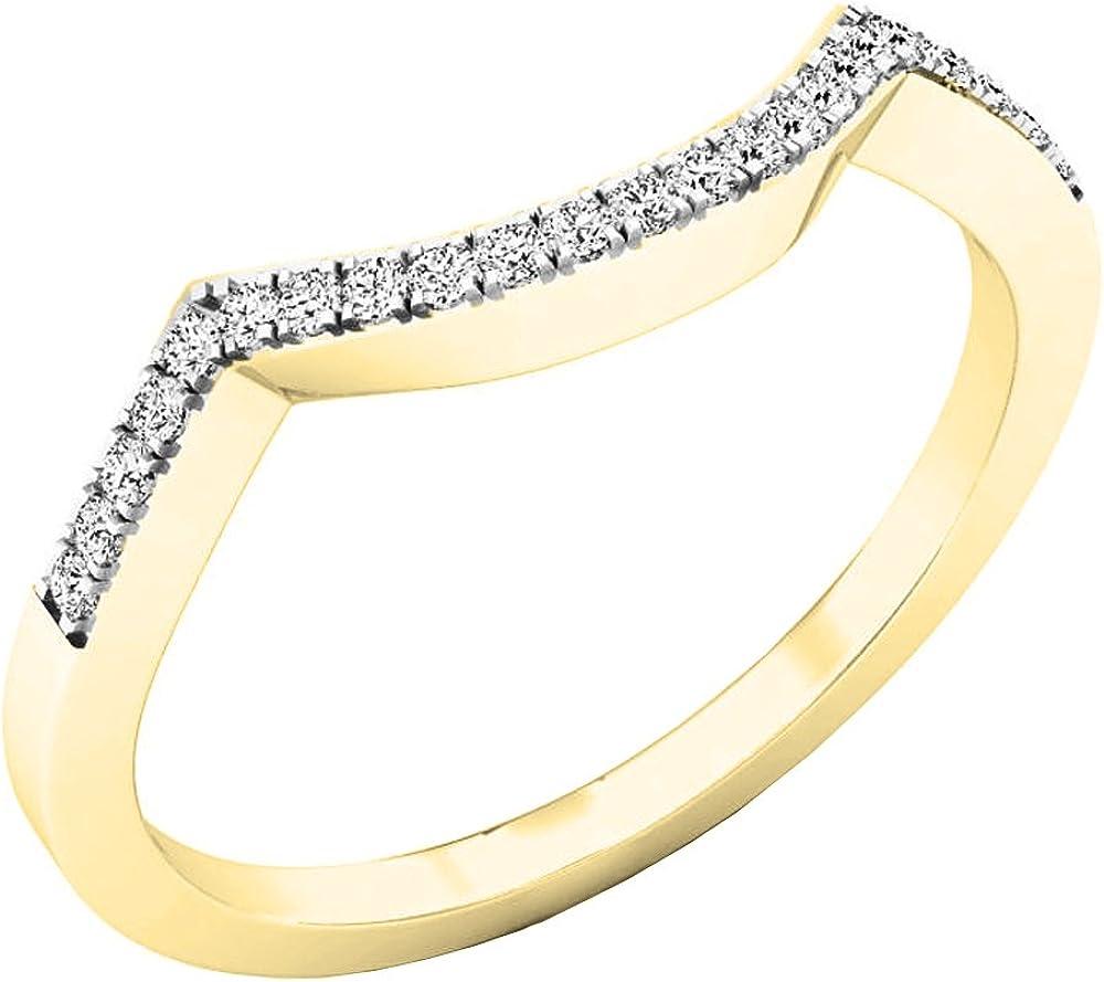 ctw 10K Gold Round Diamond Stackable Wedding Contour Band Guard Ring 1//10 CT 0.10 Carat