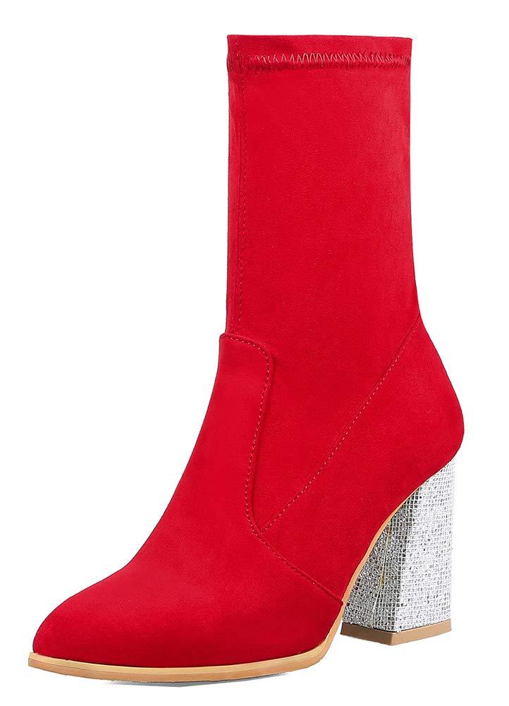 Easemax Femme Mariage Elégant Bout 19126 Pointu Chaussure pour Femme Mariage Mi-Mollet Bottes Rouge 0a9d590 - conorscully.space